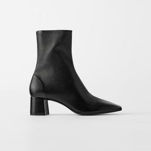 ZARA SOFT LEATHER HIGH HEELED ANKLE BOOTS